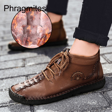 Phragmites Winter Men Boots PU Outdoor Snow Ankle Male Lace Up Anti-slip Sneakers Plus Size 48 Zapatos De Hombre Botas