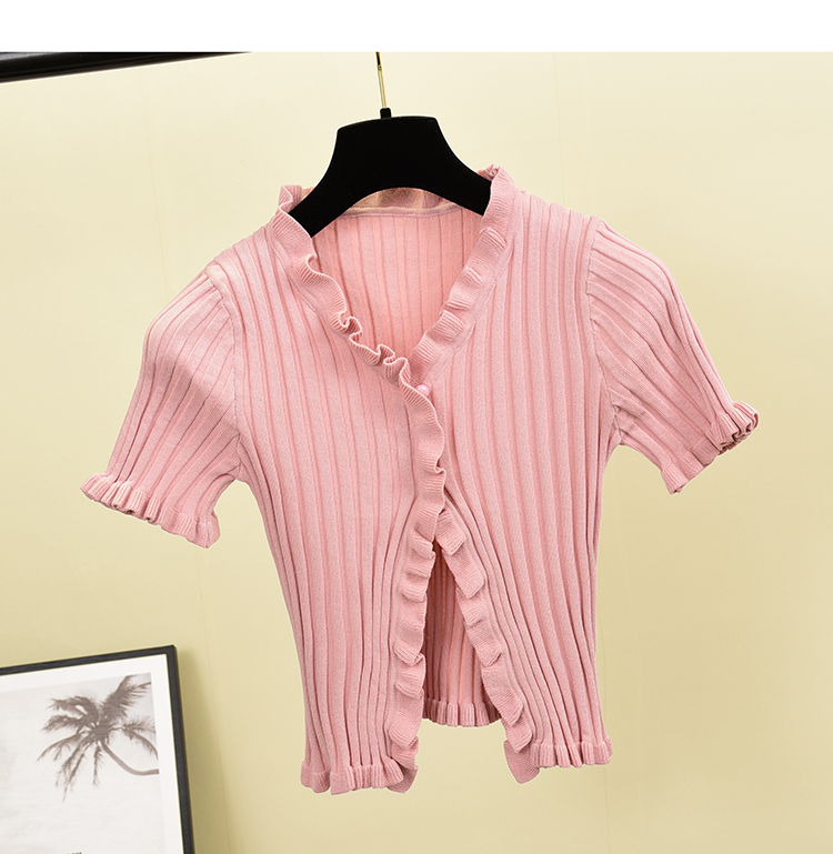Hbe1e9a0290d3415487f90661f2c29ffby - Vintage V Neck Ruffles Ladies Slim Summer Knit T-Shirt Casual Women T Shirt Top Tee Harajuku Crop Thin Short Sleeve Cardigan