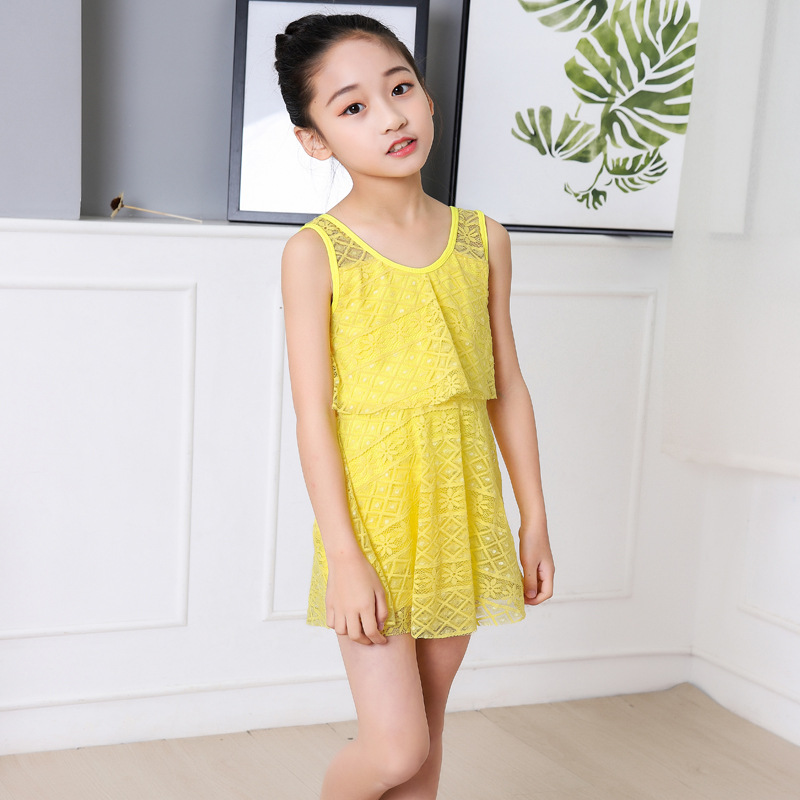 Korean-style Girls Swimwear Princess CHILDREN'S Swimsuit Big Boy Baby Girls Dress-Students Manufacturers Direct Selling