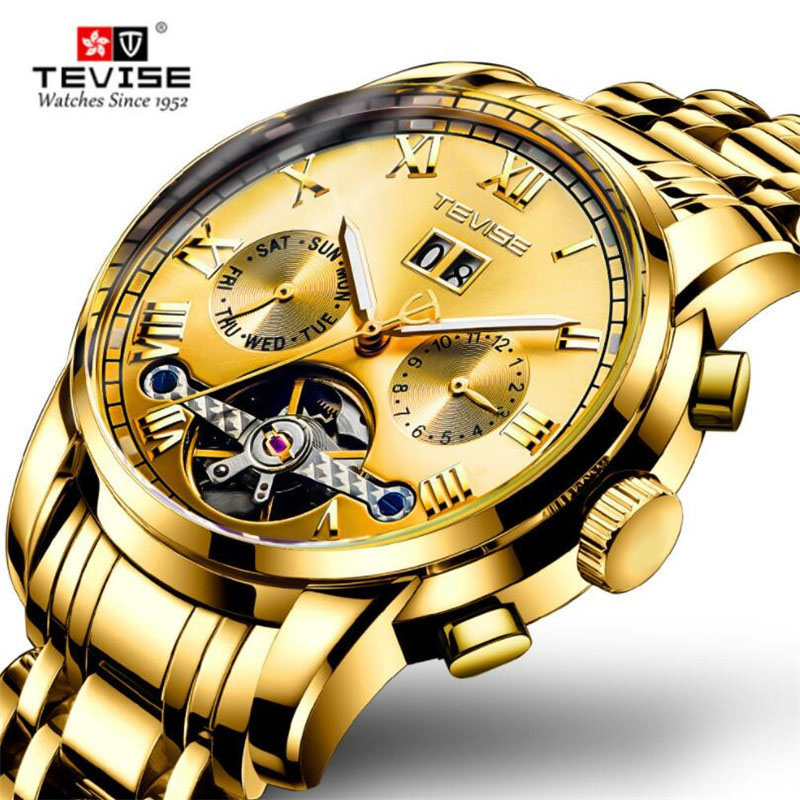 TEVISE Fashion Men Military Sport Watches Mens Waterproof Tourbillon Automatic Mechanical Watch Male Calendar Gold Clock Relogio