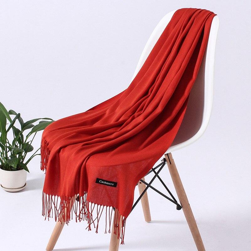 Однотонный кашемировый шарф для женщин новые длинные мягкие шали и палантины пашмины модные хиджаб с кисточками женские шейные шарфы - Цвет: 110g zhuanhong
