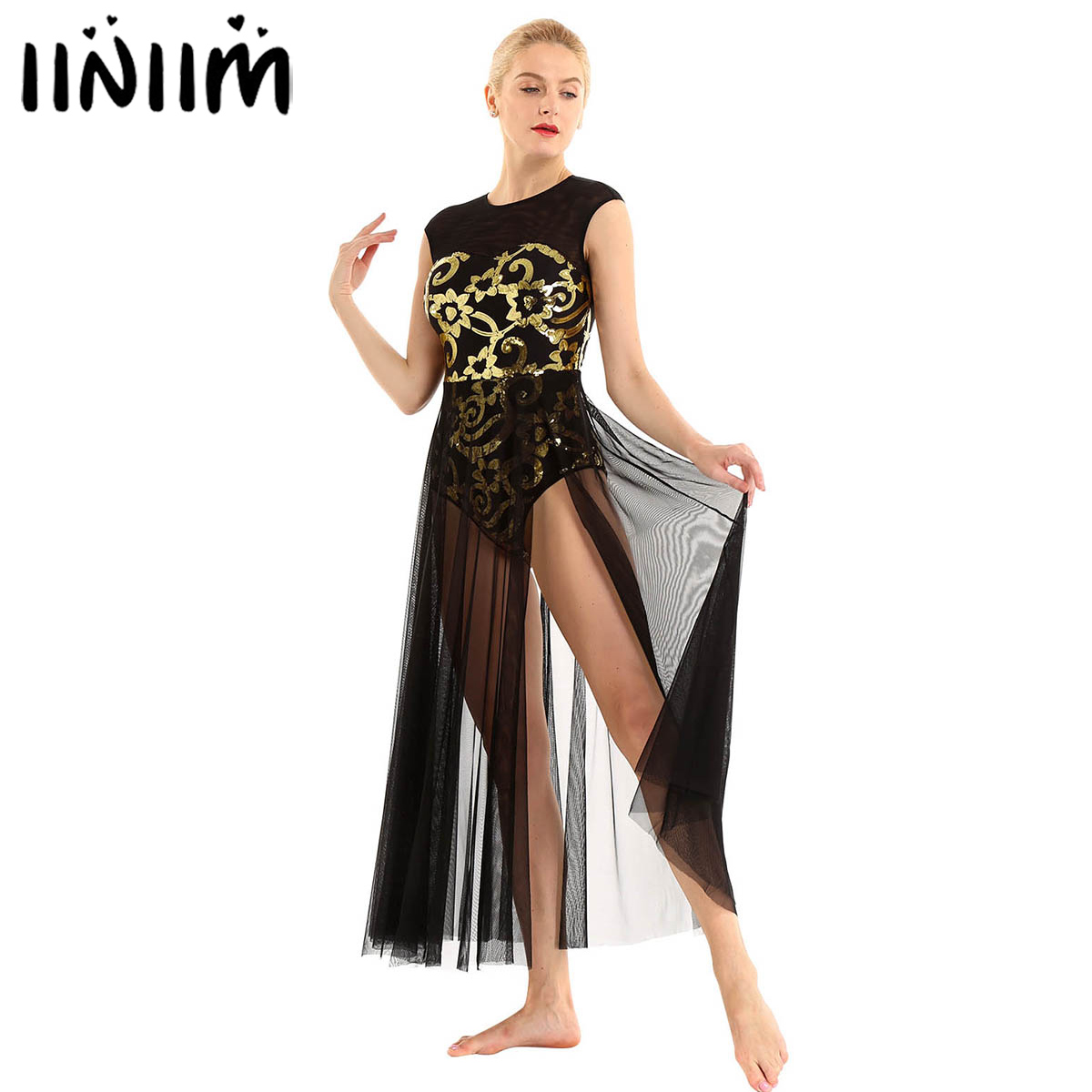 Women Sleeveless Shiny Floral Sequins Tank Leotard Maxi Dress Round Neck Back Keyhole Mesh Splice Lyrical Modern Dance Costume