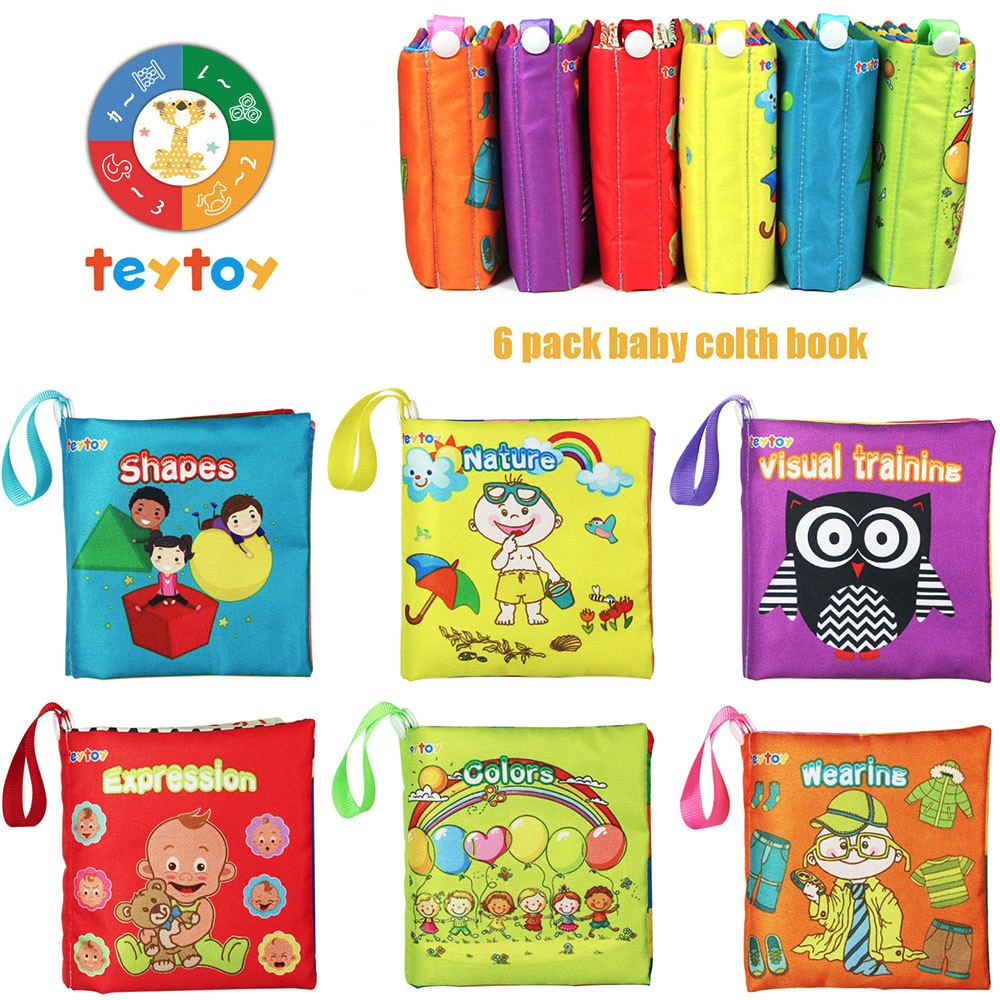 2 Pack 3D Crinkly Books Educational Learning Toy with Rustling Paper Teething Toy for Infants StickyDeal Baby Soft Cloth Book Set
