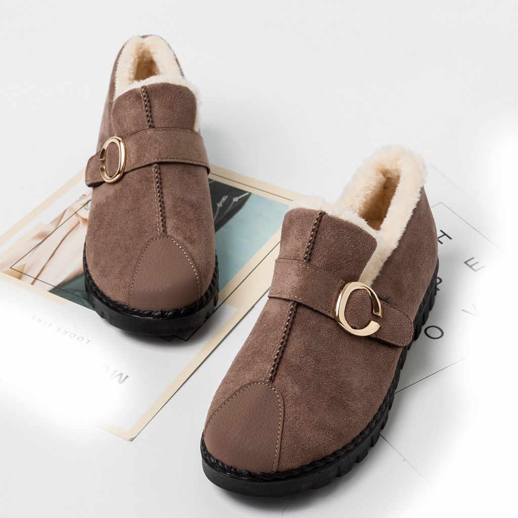 2019 Winter Snow BOOTS รองเท้าผู้หญิงข้อเท้ารองเท้า SLIP-ON ขนสัตว์สั้น BOOT คลาสสิกหนา Suede ส้นรองเท้านุ่มสำหรับ MOM รองเท้า Plush