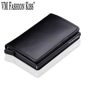 Image 1 - VM MODA BEIJO RFID Couro Genuíno Carteira Minimalista DIY Metal de Alumínio Seguro Id Titular Do Cartão de Crédito Da Bolsa Titular Do Cartão