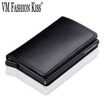 VM אופנה נשיקה RFID אמיתי עור מינימליסטי ארנק DIY מתכת אלומיניום בטוח ארנק אשראי מזהה עסקי כרטיס בעל כרטיס