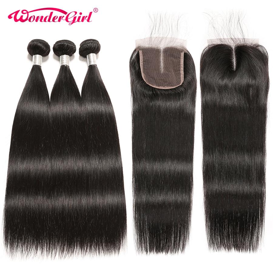 Brazilian Straight Hair Bundles With Closure 4Pcs Human Hair Bundles With Closure Remy Hair 3 Bundles With Closure Wonder Girl
