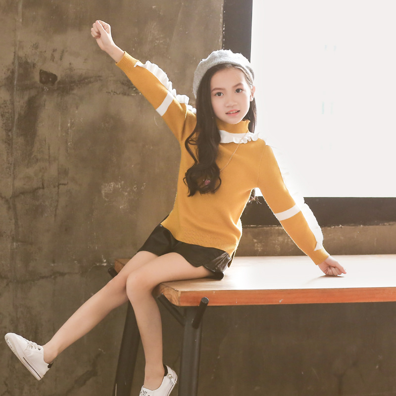 Girls Korean-style Autumn New Style Pullover Sweater Women's Dalang Sweater Children Base Shirt