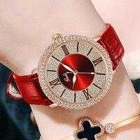 Luxus Frauen Kleid Uhren Unqiue Strass Rot Echtem Leder Mode Lässig Dame Uhr Party Business Armbanduhr für Weibliche
