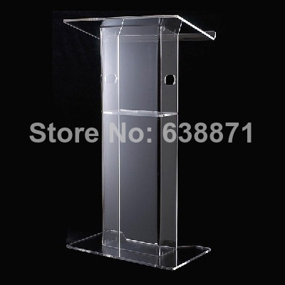 FreeShiping Detachable Acrylic Lectern With Aluminum Stands, Acrylic Pulpit, Acrylic Podium