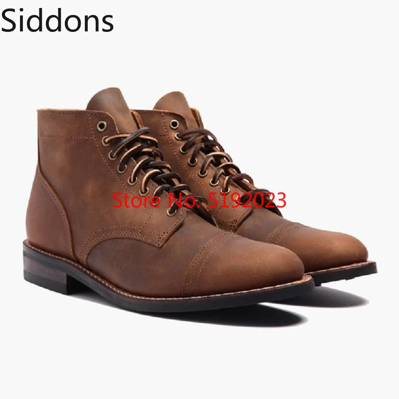 High Quality Split Leather Men Boots Retro Leather Boots Fashion Lace Up Vintage Classic Male Casual Boot  D156