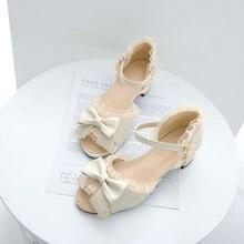 2020 sweet Lolita Shoes Bow Sweet Students Chunky-Heel Fairy Sized Yard Fish Head Sandals sweet shoes f20 ks1807