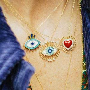 2020 New Design Bohemian Enamel Evil Eye Heart Pendant Necklaces For Women Gold Chain Vintage Charm Sweater Necklace Accessories(China)