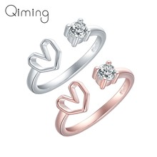 Shiny Romantic Love Heart Crystal Rings Adjustable Zircon Finger Couple Ring For Women Girls Birthday Gift Wedding Jewelry(China)