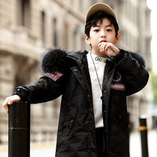 2019 Winter Jacket For Boy Hooded Fur Collar Warm Long Down Jacket For Girls Teenagers 7-16 Years Children's Outerwear Coat