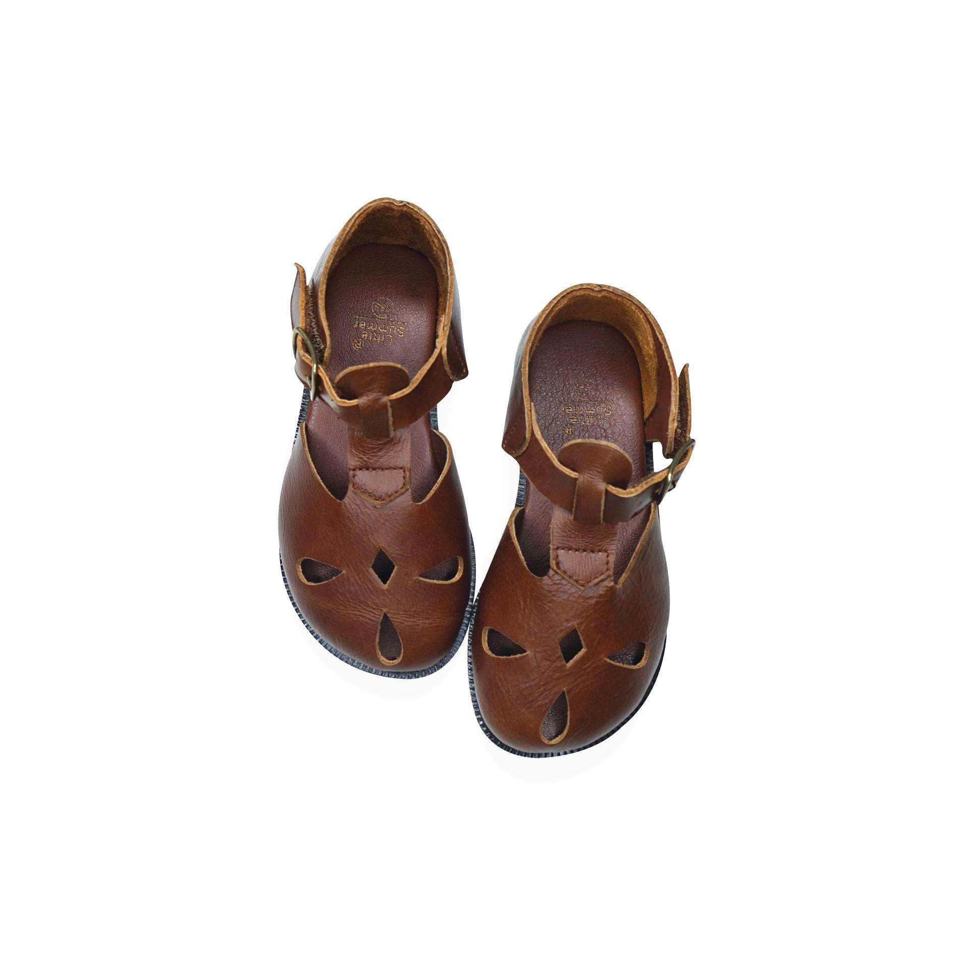 Cowhide Girls Sandals Retro Oil Wax Color Genuine Leather Baby Beach Shoes Kids Garden Sandals Summer Children's Sandals 6T