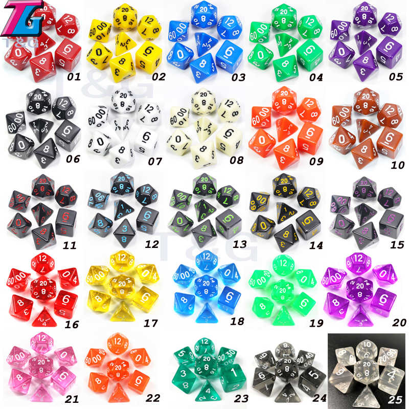 Commerci All'ingrosso 7 Pz/lotto Dadi Set D4, D6, D8, D10, D10 %, D12, d20 Accessori Colorati per Gioco di Società, Dnd, Rpg