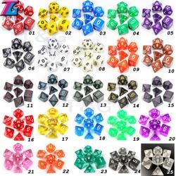 Vendas por atacado 7 pc/lote conjunto de dados d4, d6, d8, d10, d10 %, d12, d20 acessórios coloridos para o jogo de tabuleiro, dnd, rpg