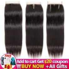 Jarin Hair – Extension de cheveux péruviens naturels Remy Lace Closure, lisses, 1-2-5, 4x4, partie libre/centrale/trois parties