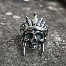 Punk Silver Color Stainless steel Skull Ring Mens Hip Hop Indian Chief Biker Rings Jewelry