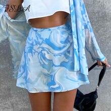 FSDA-faldas estampadas Y2K para mujer, faldas de cintura alta, Mini Tie-Dye Harajuku de los 90, informales, sexys, Vintage, de verano, 2021