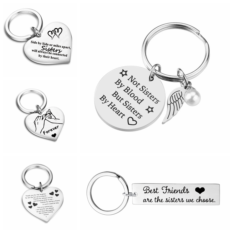 Friendship Keychain Stainless Steel Keyring Best Friends Jewelry Gift for Women Girl Custom Personalized Cute Women Accessories