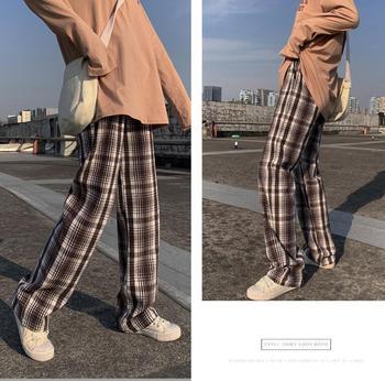 Wełniane kratki proste damskie spodnie jesień zima 2020 szerokie spodnie damskie spodnie z wysokim stanem luźna i cienka na co dzień proste spodnie tanie i dobre opinie COTTON Poliester Pełnej długości CN (pochodzenie) Wiosna jesień Stałe Mieszkanie Luźne Osób w wieku 18-35 lat NONE