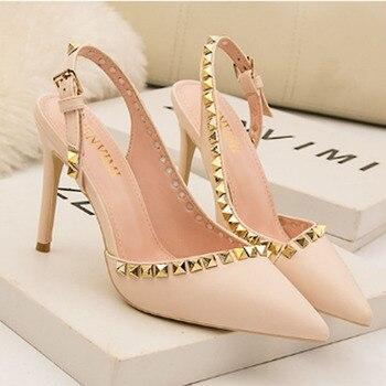 2020 new women's sexy high-heeled sandals women's shallow mouth hollowed-out rivet studs high heels fashion high heel sandals