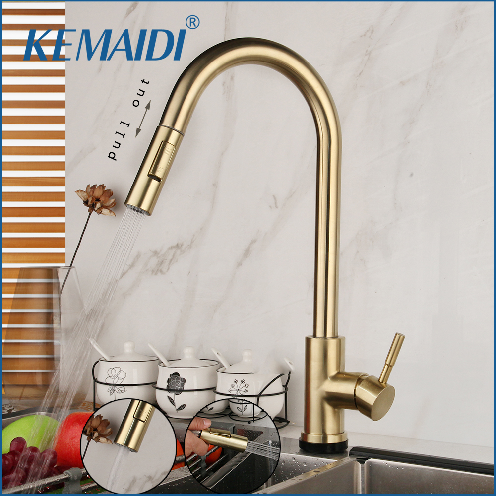 KEMAIDI Nickel Brush Golden Swivel Roated Kitchen Basin Sink Tap Pull Out Solid  Faucet 360 Swivel Sprayer Kitchen Water Mixer