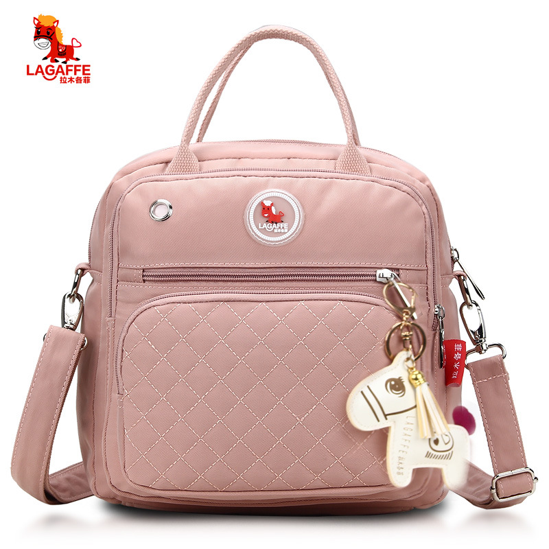 .Fashionable Plaid Pink Diaper Bag For Mommies Large Capacity Well-organized Space Maternity Backpack For Strollers