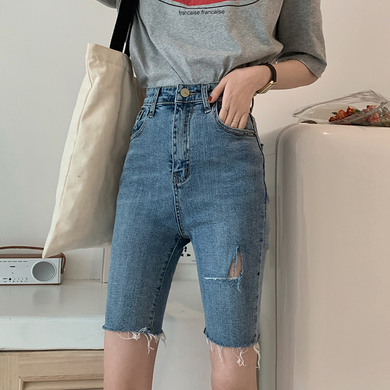 Half Long Summer Casual Denim Scratched Shorts Women Casual Jeans Elastic Skinny Hole Denim Medium Cut Jeans Trousers Momo