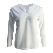 Women Fashion Autumn And Winter Womens New V-Neck Solid Color Long-Sleeved Blouse 8.26