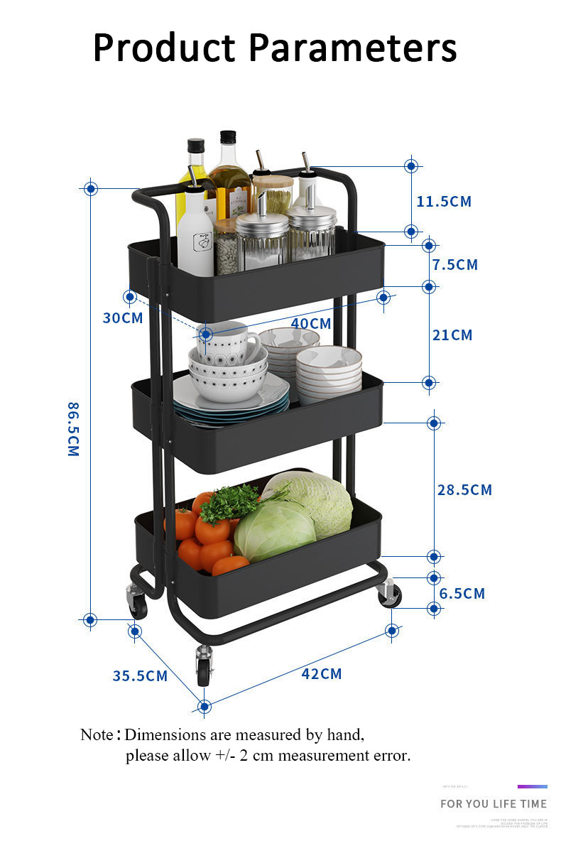 3 Tier Movable Metal Rolling Bathroom Kitchen Utility Cart Storage