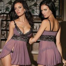 Plus Size XXL Women Purple Sexy Hot Split Lace Nightwear Und