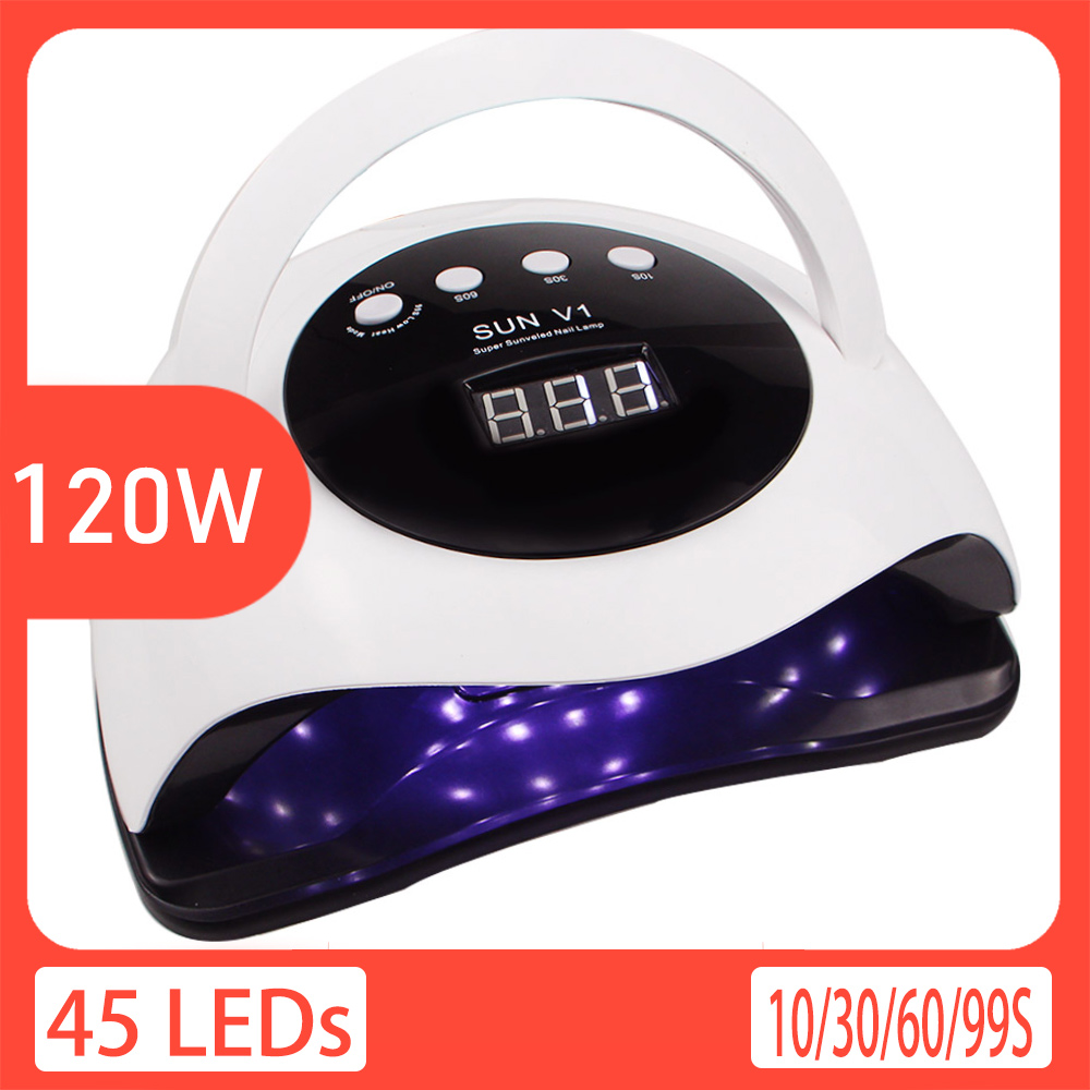 120W LED Nail Lamp Nail Dryer 45PCS LED UV Lamp For Curing All Gel Nail Polish With Motion Sensing Manicure Pedicure Salon Tool