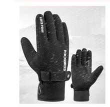 ROCKBROS Winter Gloves Cycling -30 Keep Warm Windproof Bicycle Full Finger Thick Fleece Thermal Sports
