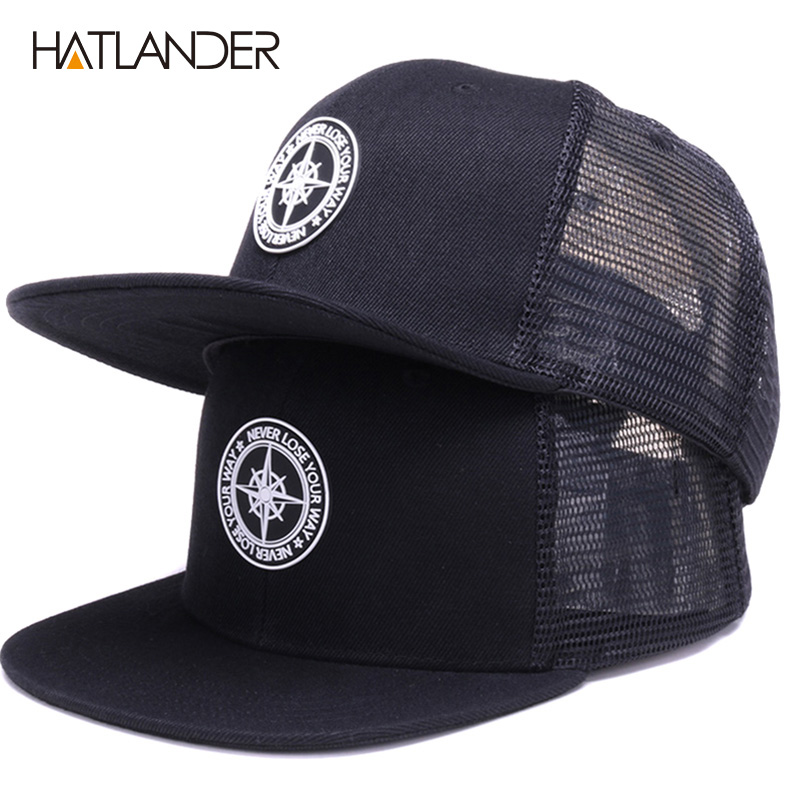 Hbe20ec27d0914a1e98ccdec0fe72c162c - HATLANDER Original Baseball caps for men women black snapback cap high quality cool hip hop cap 6panels bone mesh truck cap hat