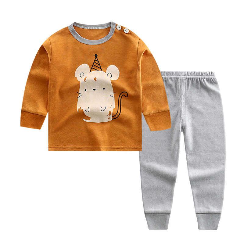 CALOFE primavera otoño niños conjuntos de ropa de algodón de manga larga Camiseta pantalón traje niños dibujos animados patrón ropa Pullovers conjunto
