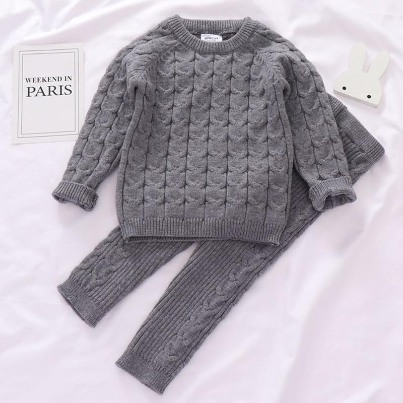 Autumn Toddler Boys Girls Clothing Set Sweater + Pants 2pcs/Suit Infant Boys Knit Suit Thick Warm Winter Baby Girls Boys Clothes 2