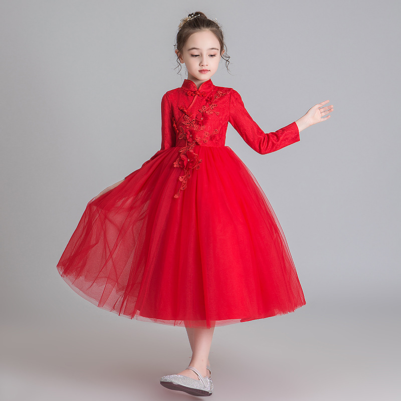 Autumn And Winter Flower Girl Wedding Party Wedding Garment Peng Long Skirt For Teenagers Baptist Party Party Embroidery Dresses