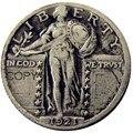 США 1921 стоя Liberty четверть Посеребренная копия монеты