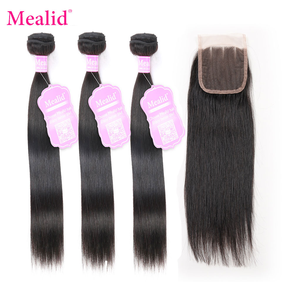 Mealid Brazilian Straight Hair Weave Bundles With Closure Non Remy Human Hair Bundles With Lace Closure Human Hair Extensions