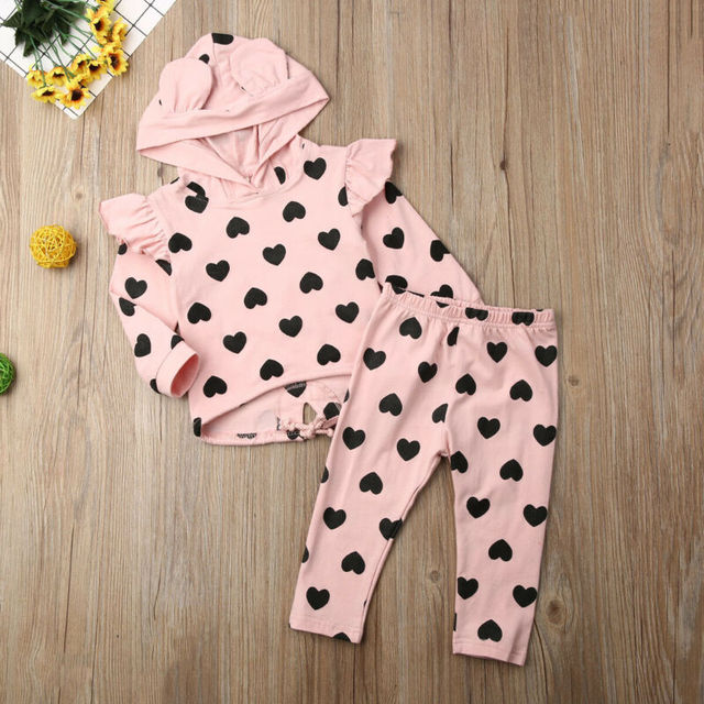 Autumn New Toddler Baby Girl Clothes Sets Print Kid Top Ear Hooded Pullover + Trousers Pants Cotton  Clothes 1-5Y