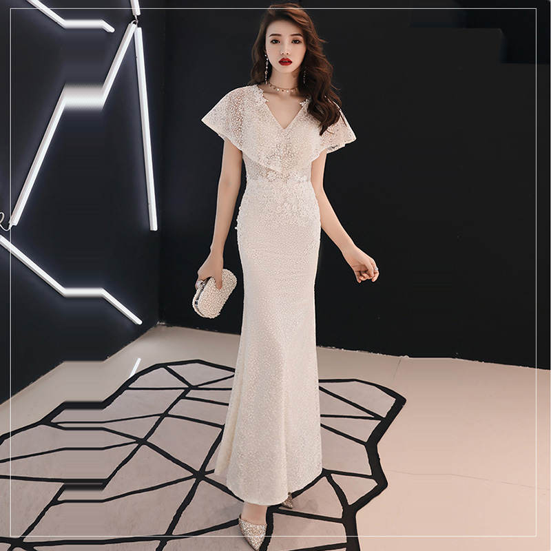 Evening     Dress   Solid V-neck Women Party   Dresses   Embroidery Elegant Robe De Soiree 2019 Short Sleeve Formal   Evening   Gowns F205