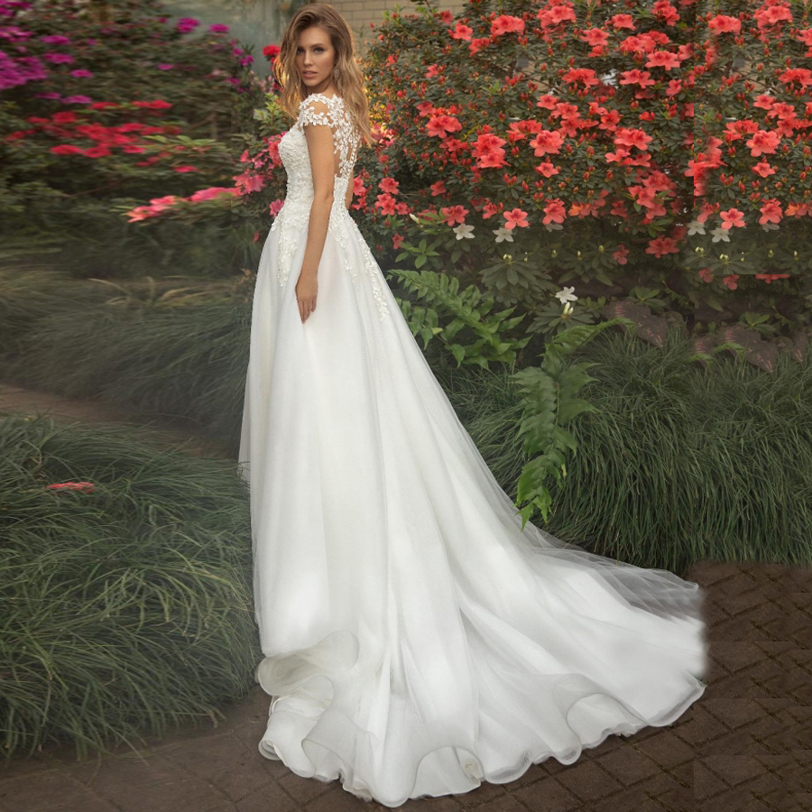 Jiayigong Wedding Dresses Vestido De Noiva Short Sleeves Scoop Neck Illusion Flowers Applique A-line Tulle Wedding Gowns