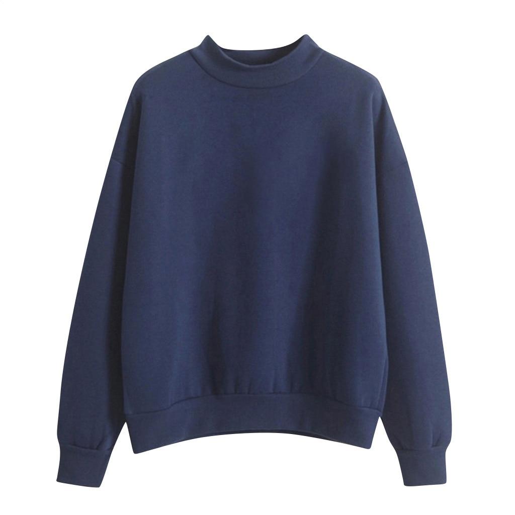 Velvet Women Sweatshirt Autumn Harajuku Style Lovely Solid Color Fleece Winter Hoodies Turtleneck Pastel Colors Jumper Tracksuit 4