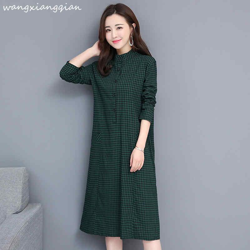 2019 весеннее длинное клетчатое платье с длинными рукавами в Корейском стиле, большие размеры, Свободная блуза, платье для женщин, A484