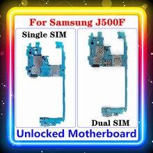 Para samsung galaxy j5 j500f placa mãe original substituído limpo mainboard único/duplo sim apoio placa lógica android os