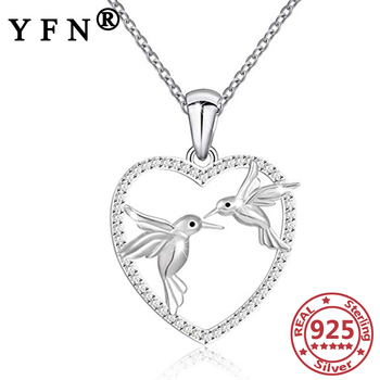 YFN 925 Sterling Silver Heart Double Bird Pendant Necklace Silver Chain Women 925 Valentine's Day Gift Love's Gift Woman Jewelry