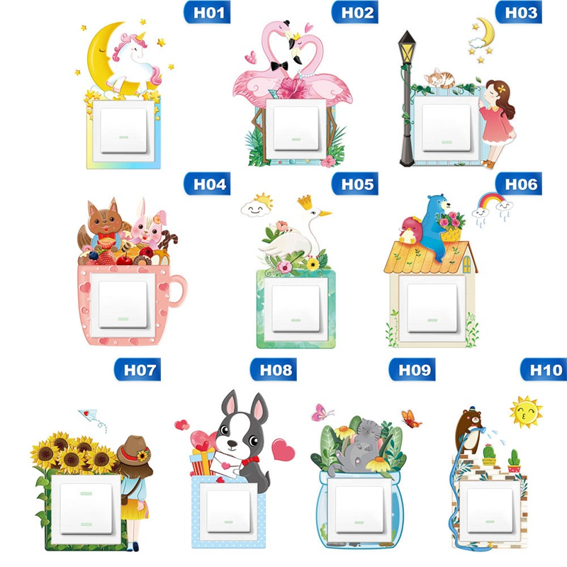 Cute Unicorn Flamingo Animal Cover Cartoon Room Decor 3D Wall Silicone On-off Switch Luminous Light Switch Outlet Wall Stickers